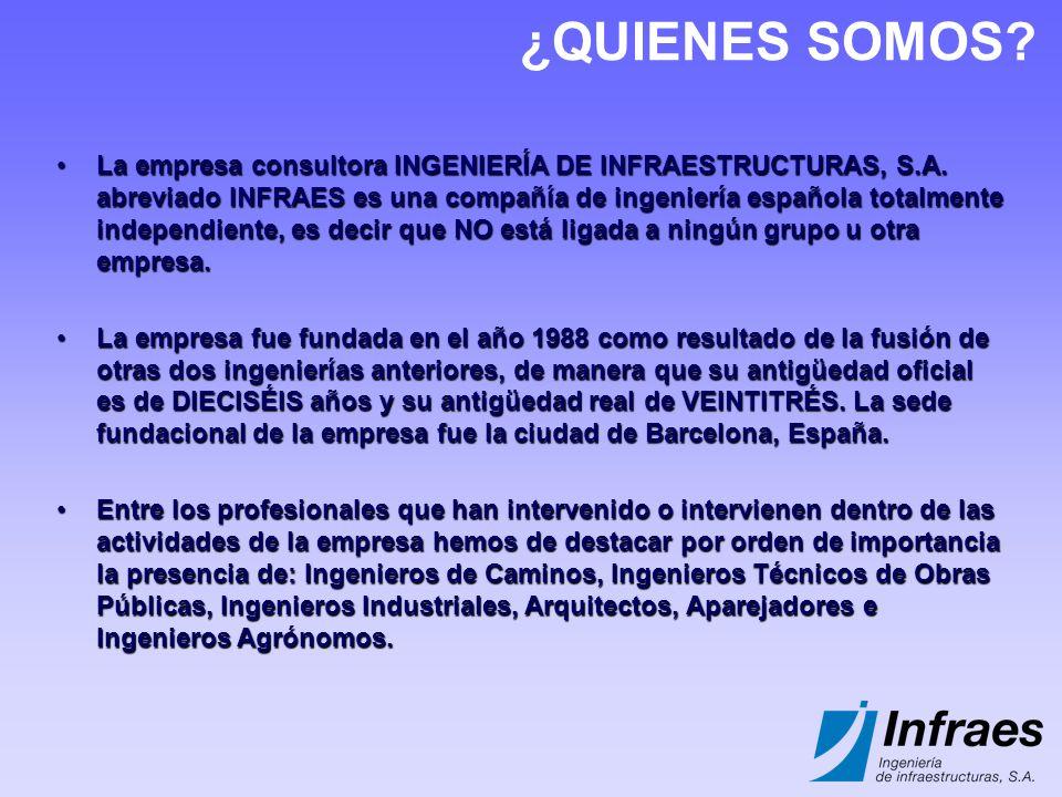 ¿QUIENES SOMOS? La empresa consultora INGENIERÍA DE INFRAESTRUCTURAS, S.A. abreviado INFRAES es una compañía de ingeniería española totalmente indepen