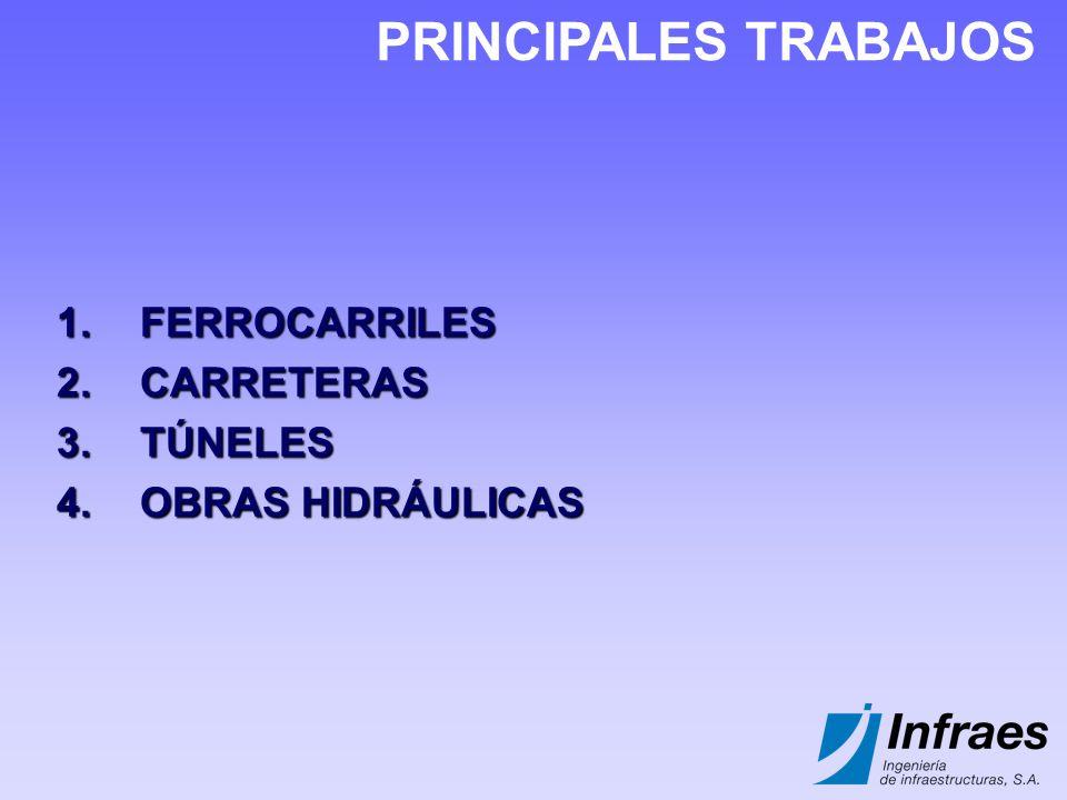 1.FERROCARRILES 2.CARRETERAS 3.TÚNELES 4.OBRAS HIDRÁULICAS PRINCIPALES TRABAJOS