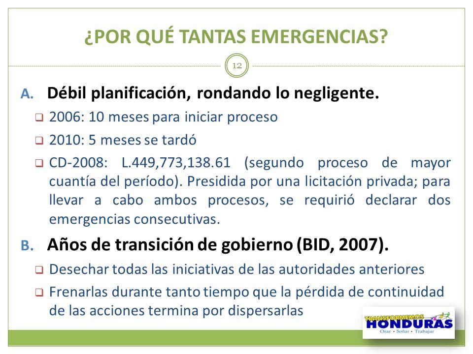 ¿POR QUÉ TANTAS EMERGENCIAS? 12 A. Débil planificación, rondando lo negligente. 2006: 10 meses para iniciar proceso 2010: 5 meses se tardó CD-2008: L.