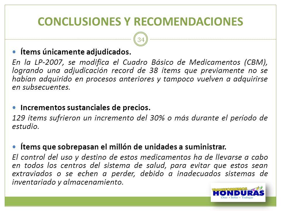 CONCLUSIONES Y RECOMENDACIONES Ítems únicamente adjudicados. En la LP-2007, se modifica el Cuadro Básico de Medicamentos (CBM), logrando una adjudicac