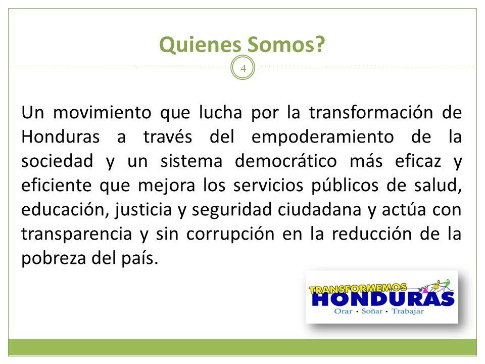 Quienes Somos? Un movimiento que lucha por la transformación de Honduras a través del empoderamiento de la sociedad y un sistema democrático más efica