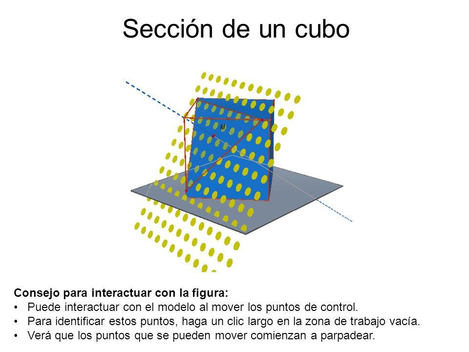Sección de un cubo Consejo para interactuar con la figura: Puede interactuar con el modelo al mover los puntos de control. Para identificar estos punt