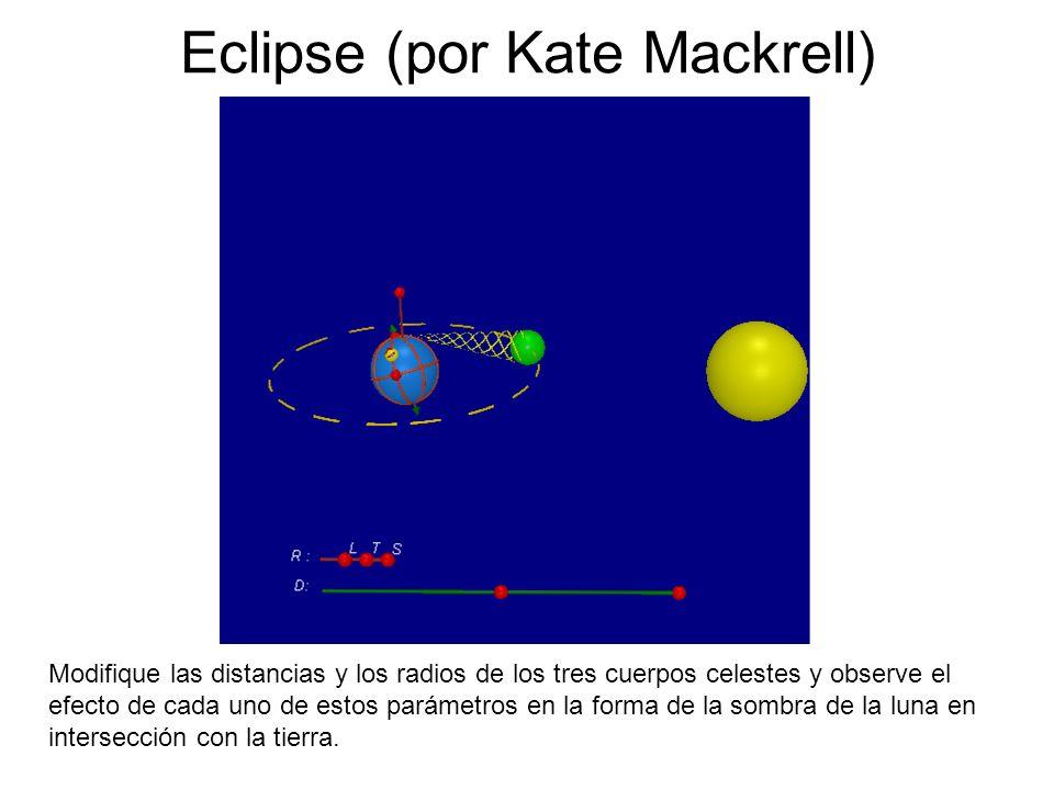 Eclipse (por Kate Mackrell) Modifique las distancias y los radios de los tres cuerpos celestes y observe el efecto de cada uno de estos parámetros en