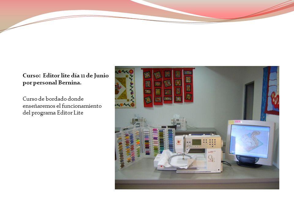 Curso: Editor lite día 11 de Junio por personal Bernina. Curso de bordado donde enseñaremos el funcionamiento del programa Editor Lite
