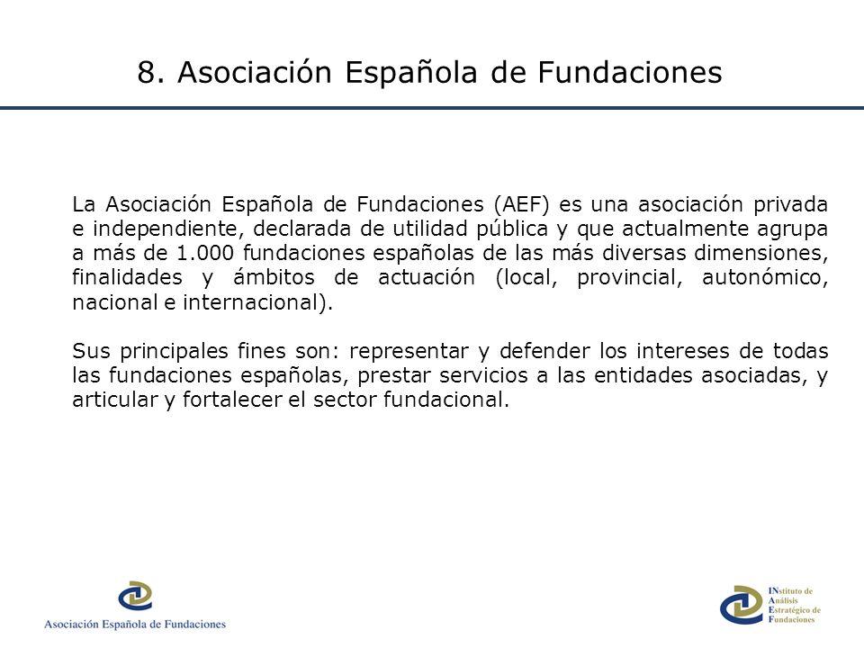 La Asociación Española de Fundaciones (AEF) es una asociación privada e independiente, declarada de utilidad pública y que actualmente agrupa a más de