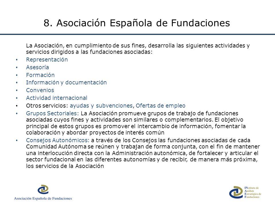 La Asociación, en cumplimiento de sus fines, desarrolla las siguientes actividades y servicios dirigidos a las fundaciones asociadas: Representación A