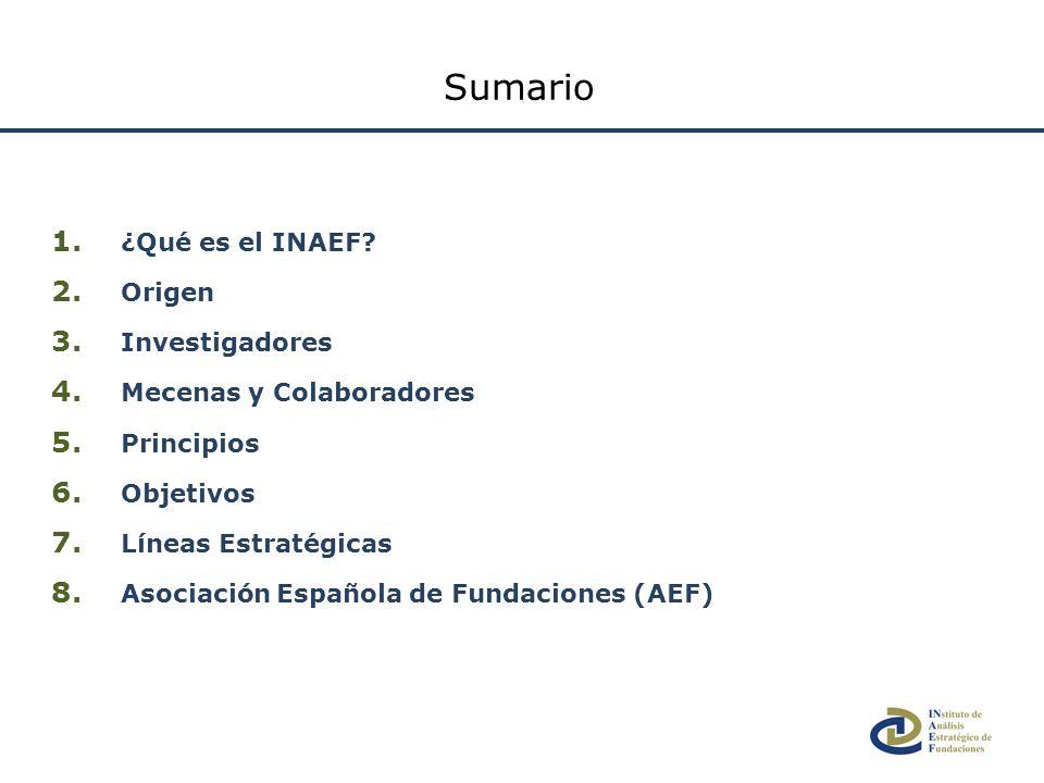 1. ¿Qué es el INAEF? 2. Origen 3. Investigadores 4. Mecenas y Colaboradores 5. Principios 6. Objetivos 7. Líneas Estratégicas 8. Asociación Española d
