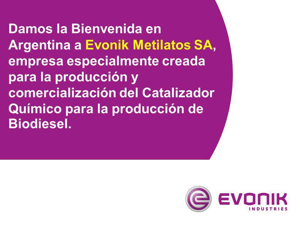 Damos la Bienvenida en Argentina a Evonik Metilatos SA, empresa especialmente creada para la producción y comercialización del Catalizador Químico par