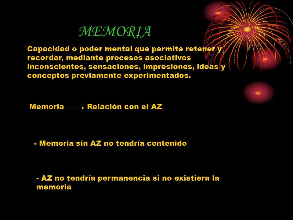 MEMORIA Capacidad o poder mental que permite retener y recordar, mediante procesos asociativos inconscientes, sensaciones, impresiones, ideas y concep