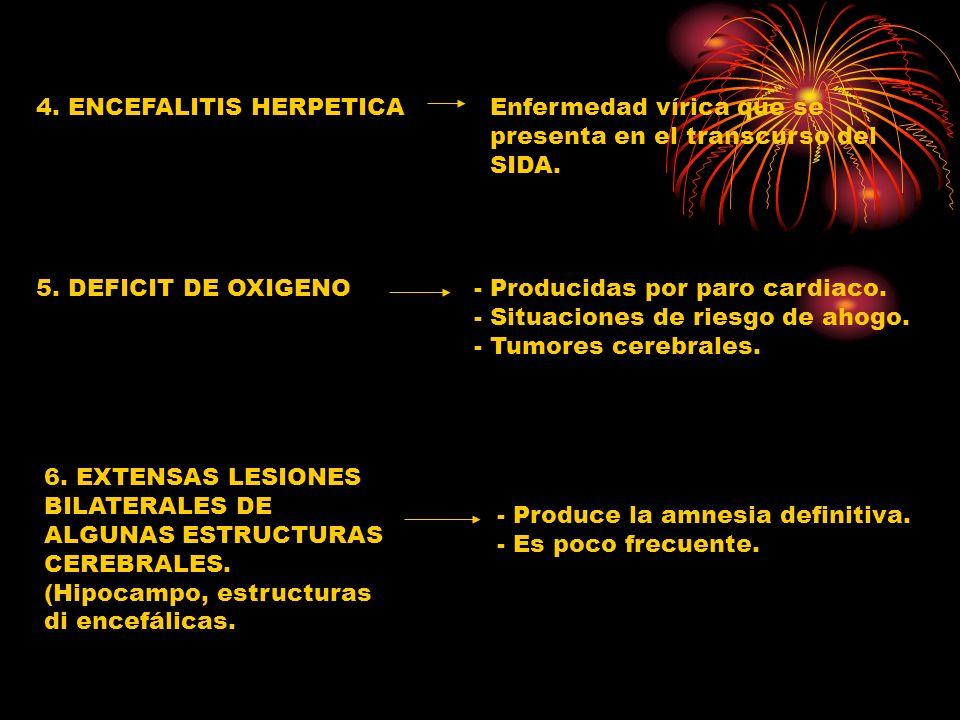 4. ENCEFALITIS HERPETICAEnfermedad vírica que se presenta en el transcurso del SIDA. 5. DEFICIT DE OXIGENO- Producidas por paro cardiaco. - Situacione