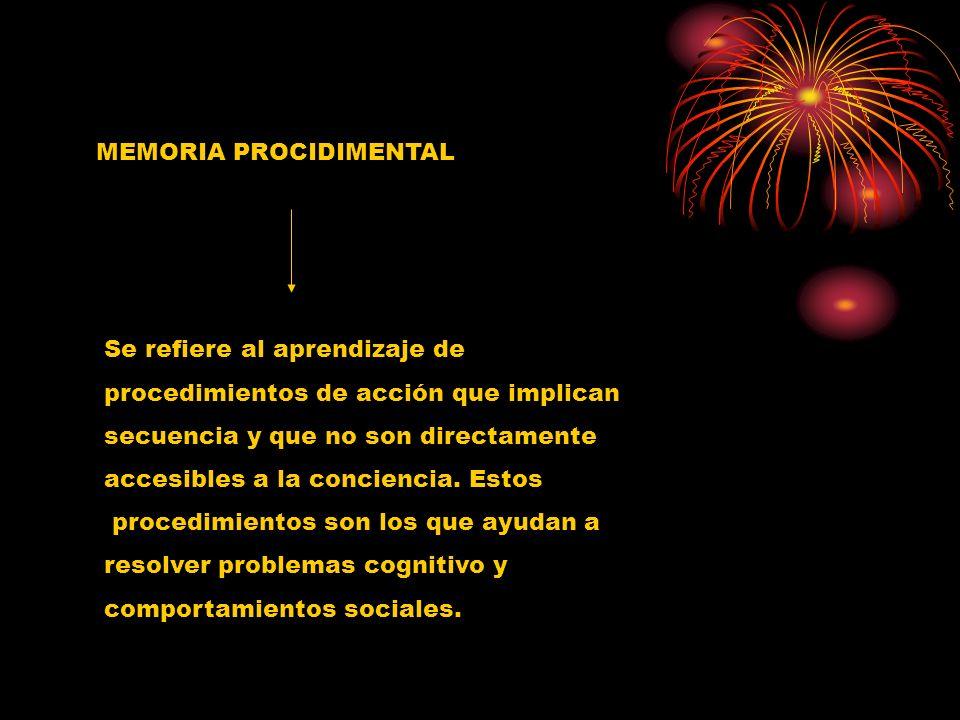 MEMORIA PROCIDIMENTAL Se refiere al aprendizaje de procedimientos de acción que implican secuencia y que no son directamente accesibles a la concienci
