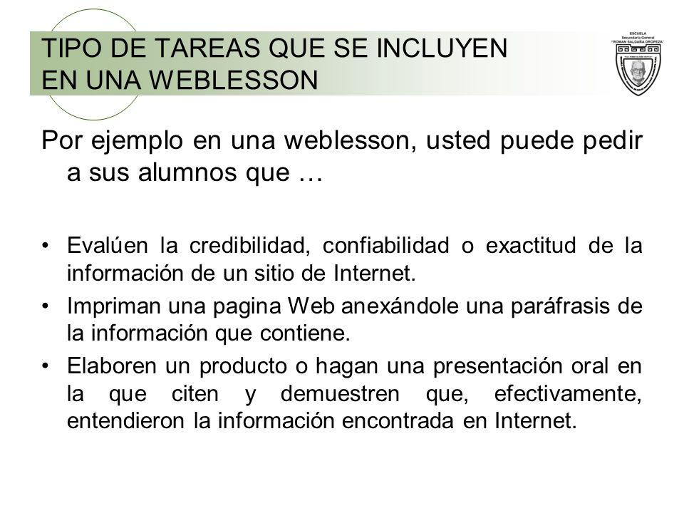 Por ejemplo en una weblesson, usted puede pedir a sus alumnos que … Evalúen la credibilidad, confiabilidad o exactitud de la información de un sitio d