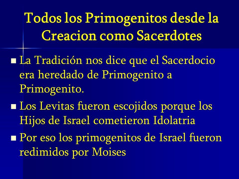 Todos los Primogenitos desde la Creacion como Sacerdotes La Tradición nos dice que el Sacerdocio era heredado de Primogenito a Primogenito. Los Levita
