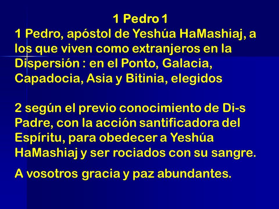 1 Pedro 1 1 Pedro, apóstol de Yeshúa HaMashiaj, a los que viven como extranjeros en la Dispersión : en el Ponto, Galacia, Capadocia, Asia y Bitinia, e