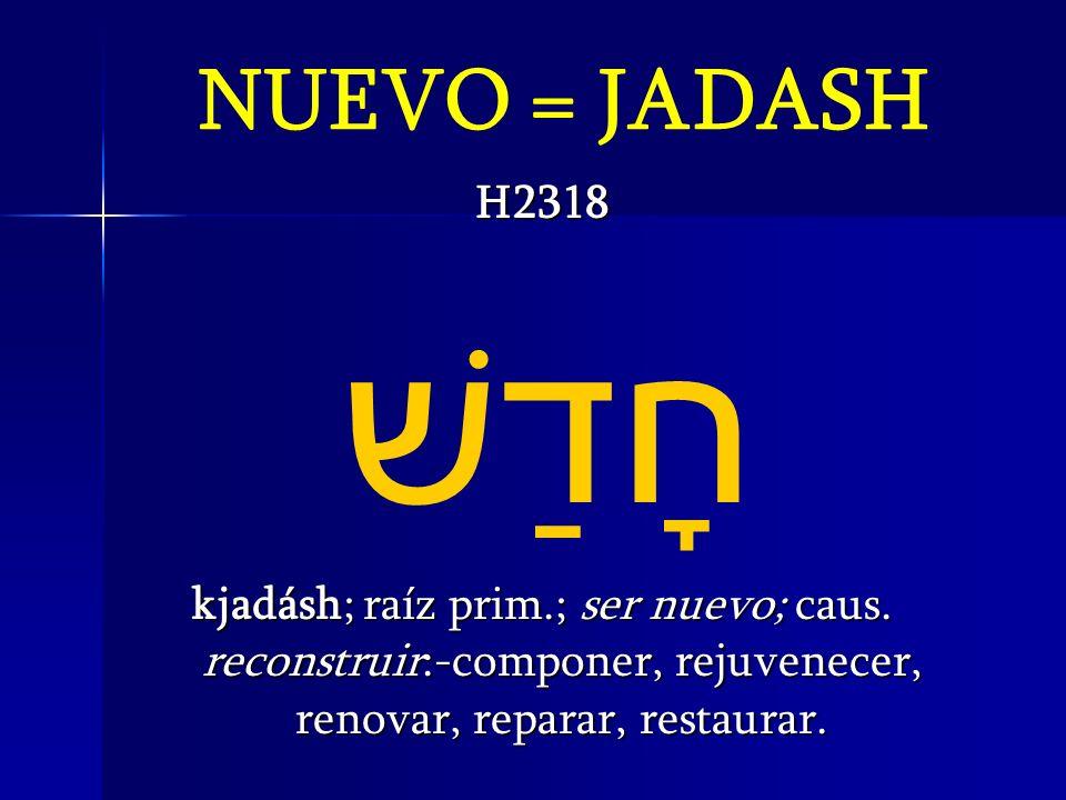 NUEVO = JADASH H2318 חָדַשׁ kjadásh; raíz prim.; ser nuevo; caus. reconstruir:-componer, rejuvenecer, renovar, reparar, restaurar.