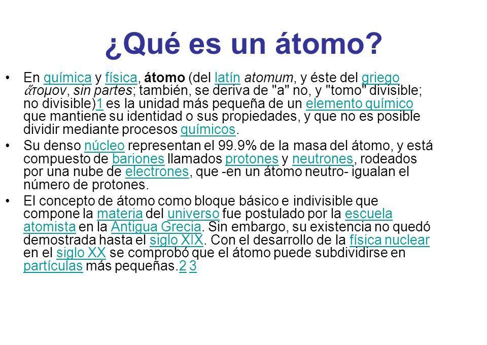 ¿Qué es un átomo? En química y física, átomo (del latín atomum, y éste del griego τομον, sin partes; también, se deriva de