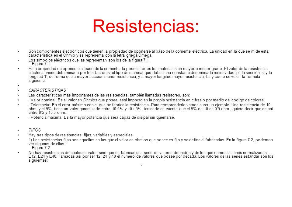 Resistencias: Son componentes electrónicos que tienen la propiedad de oponerse al paso de la corriente eléctrica. La unidad en la que se mide esta car