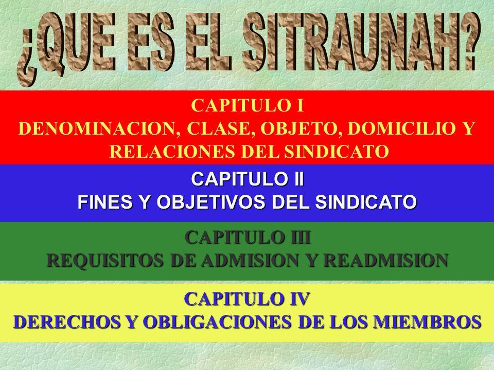 CAPITULO I DENOMINACION, CLASE, OBJETO, DOMICILIO Y RELACIONES DEL SINDICATO CAPITULO II FINES Y OBJETIVOS DEL SINDICATO CAPITULO III REQUISITOS DE ADMISION Y READMISION CAPITULO IV DERECHOS Y OBLIGACIONES DE LOS MIEMBROS