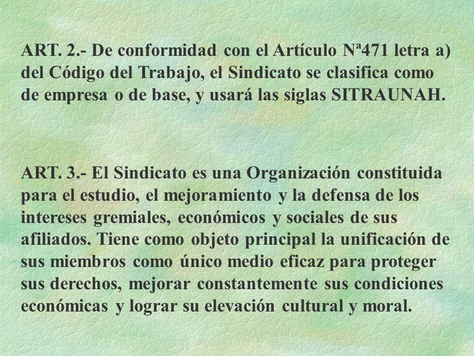ARTICULO 1. El sindicato de Trabajadores de la Universidad Nacional Autónoma de Honduras, es una organización de duración indefinida de conformidad co
