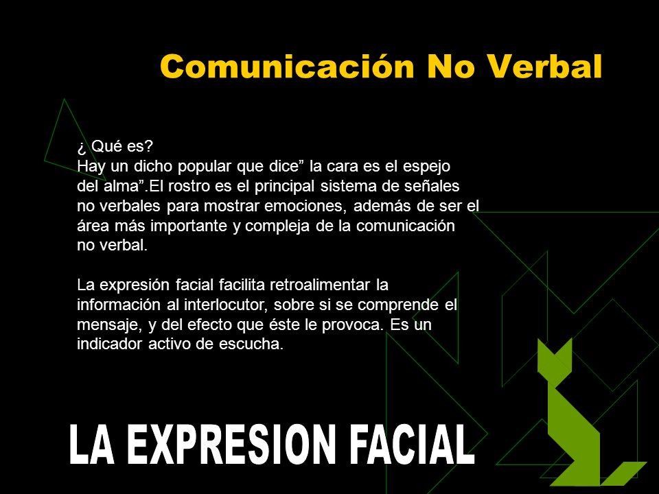 Comunicación No Verbal ¿ Qué es? Hay un dicho popular que dice la cara es el espejo del alma.El rostro es el principal sistema de señales no verbales