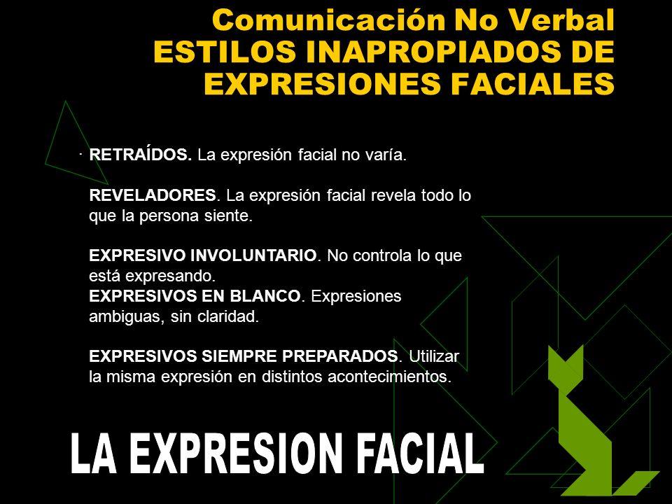 Comunicación No Verbal ESTILOS INAPROPIADOS DE EXPRESIONES FACIALES. RETRAÍDOS. La expresión facial no varía. REVELADORES. La expresión facial revela