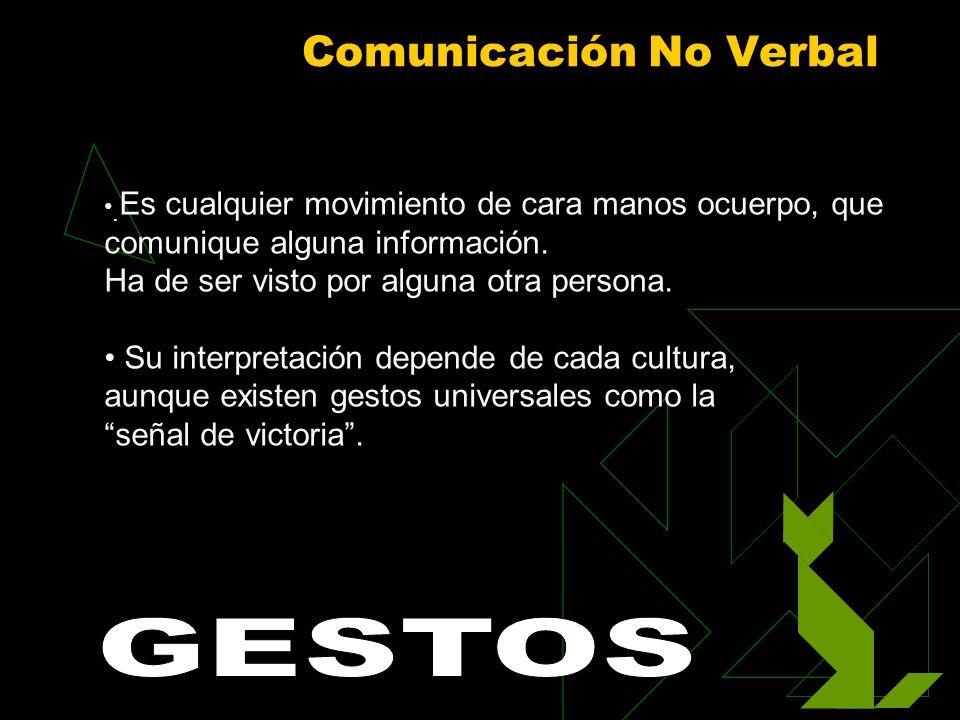 Comunicación No Verbal. Es cualquier movimiento de cara manos ocuerpo, que comunique alguna información. Ha de ser visto por alguna otra persona. Su i