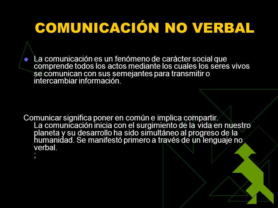 COMUNICACIÓN NO VERBAL La comunicación es un fenómeno de carácter social que comprende todos los actos mediante los cuales los seres vivos se comunica