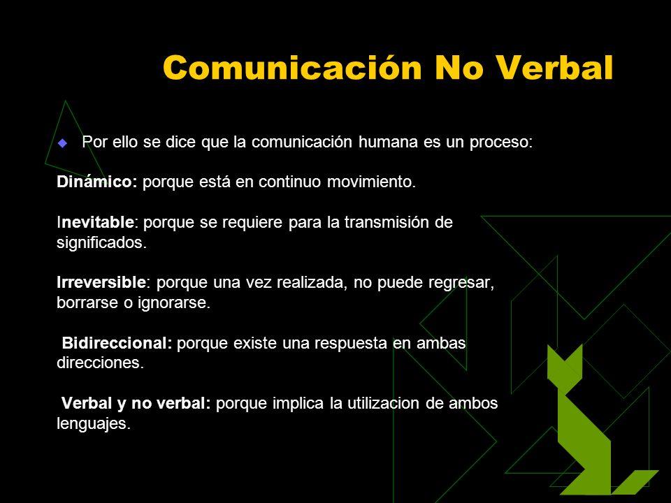 Comunicación No Verbal Por ello se dice que la comunicación humana es un proceso: Dinámico: porque está en continuo movimiento. Inevitable: porque se