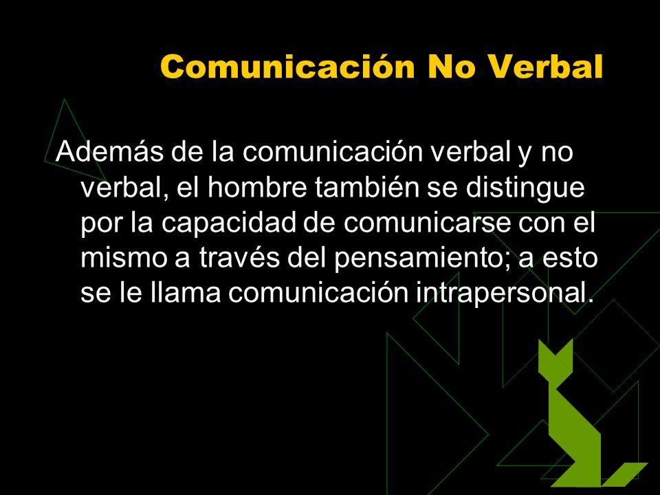 Comunicación No Verbal Además de la comunicación verbal y no verbal, el hombre también se distingue por la capacidad de comunicarse con el mismo a tra