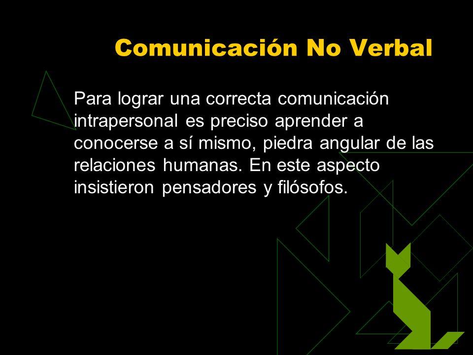 Comunicación No Verbal Para lograr una correcta comunicación intrapersonal es preciso aprender a conocerse a sí mismo, piedra angular de las relacione