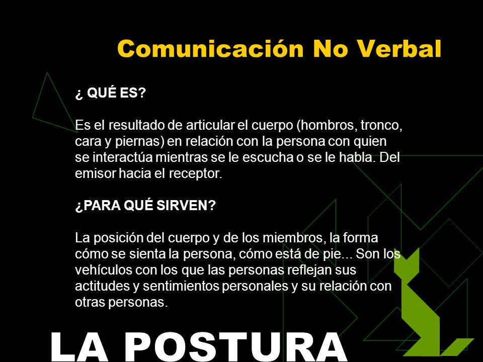 Comunicación No Verbal ¿ QUÉ ES? Es el resultado de articular el cuerpo (hombros, tronco, cara y piernas) en relación con la persona con quien se inte