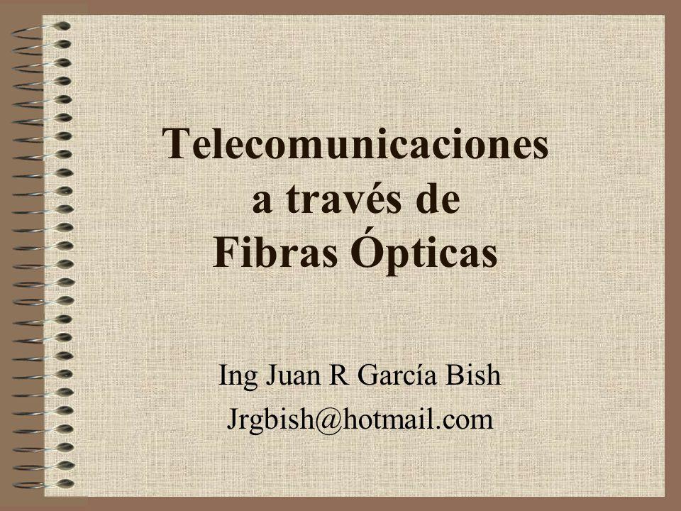 Agenda Ventajas de las comunicaciones a través de fibras ópticas Principios de las comunicaciones ópticas Modos de propagación Atenuación Dispersión Fuentes de luz, transmisores ópticos Amplificador óptico Receptores ópticos
