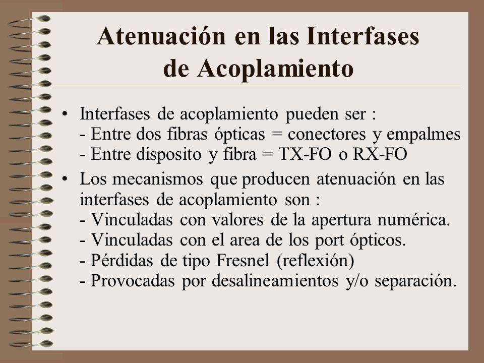 Atenuación en las Interfases de Acoplamiento Interfases de acoplamiento pueden ser : - Entre dos fibras ópticas = conectores y empalmes - Entre dispos