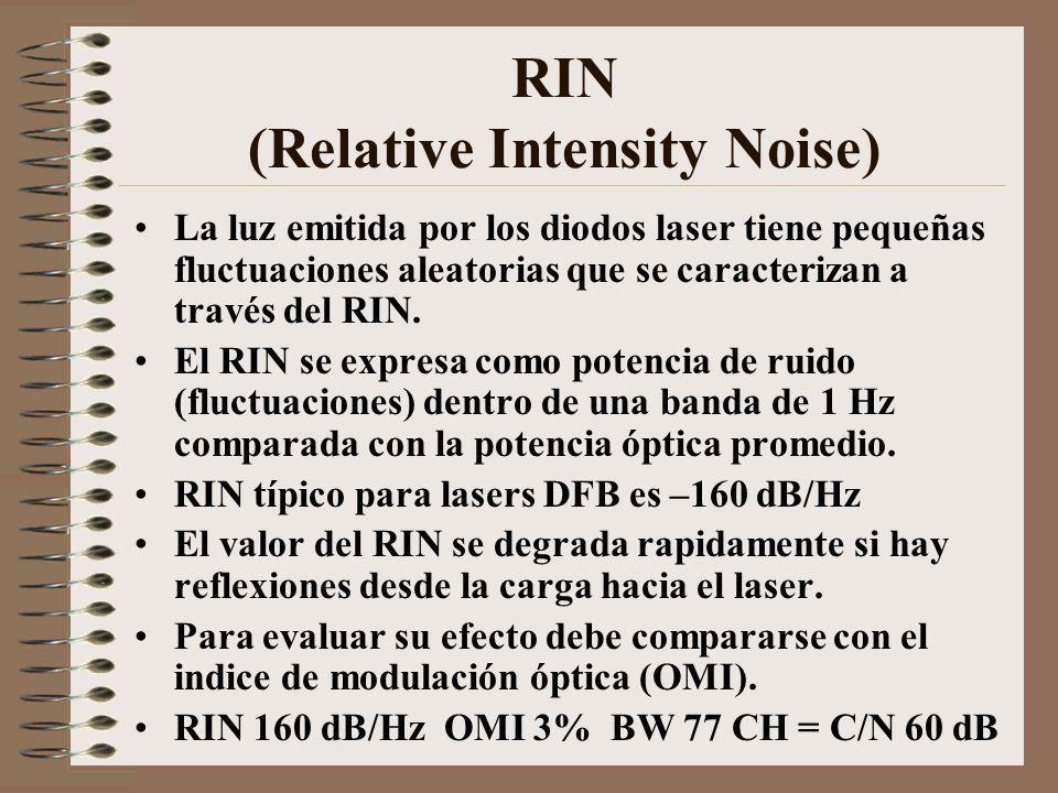 RIN (Relative Intensity Noise) La luz emitida por los diodos laser tiene pequeñas fluctuaciones aleatorias que se caracterizan a través del RIN. El RI