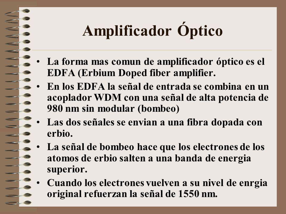 Amplificador Óptico La forma mas comun de amplificador óptico es el EDFA (Erbium Doped fiber amplifier. En los EDFA la señal de entrada se combina en