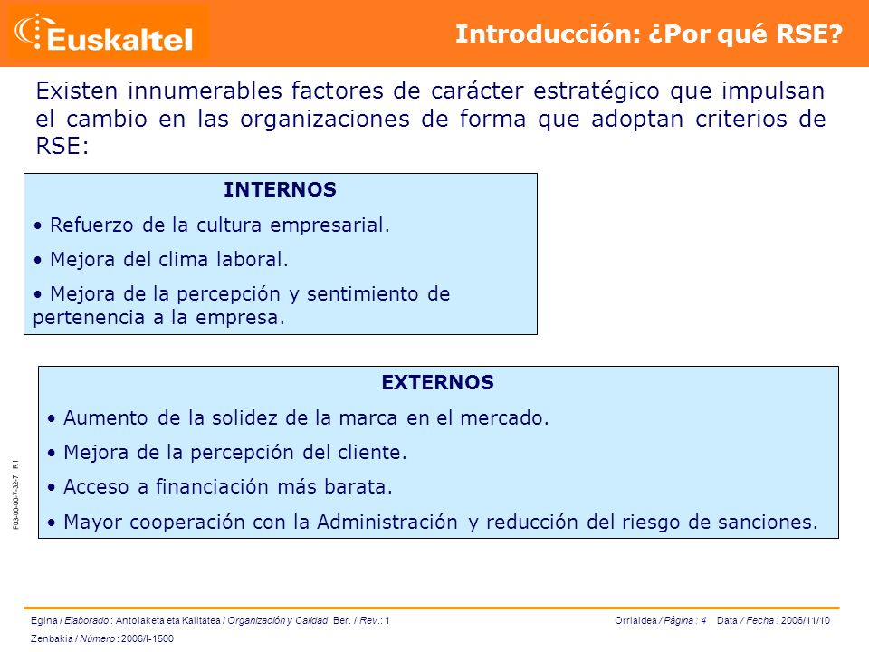 Orrialdea / Página : 4 Data / Fecha : 2006/11/10 Egina / Elaborado : Antolaketa eta Kalitatea / Organización y Calidad Ber.