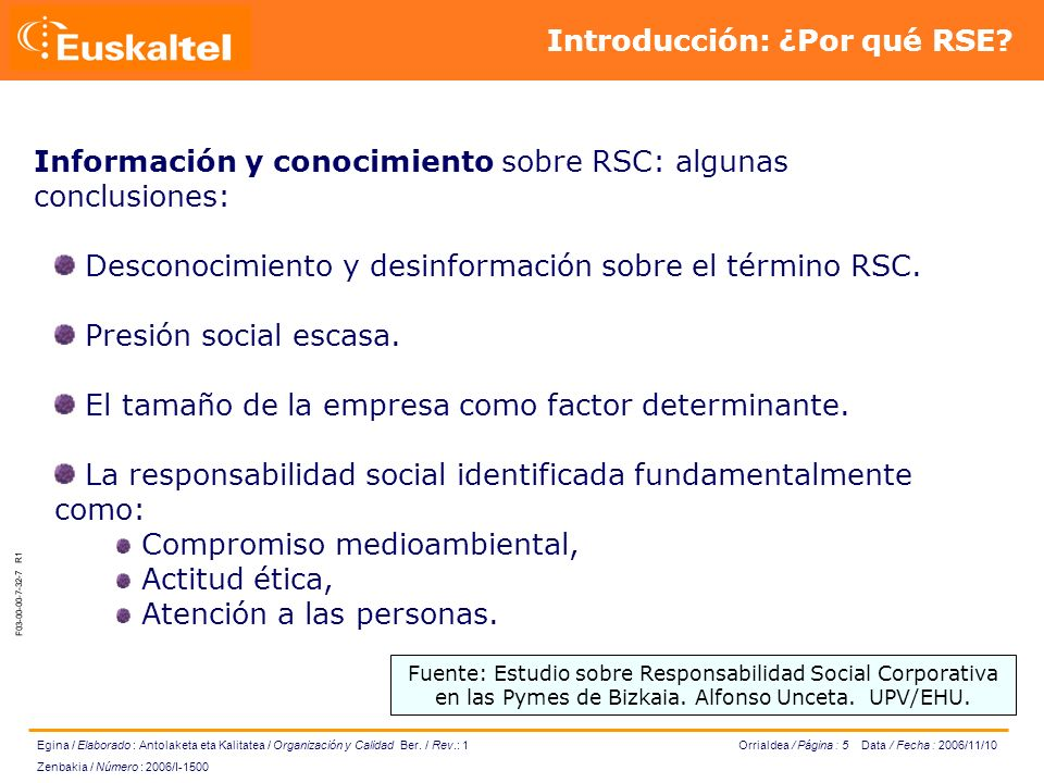 Orrialdea / Página : 6 Data / Fecha : 2006/11/10 Egina / Elaborado : Antolaketa eta Kalitatea / Organización y Calidad Ber.