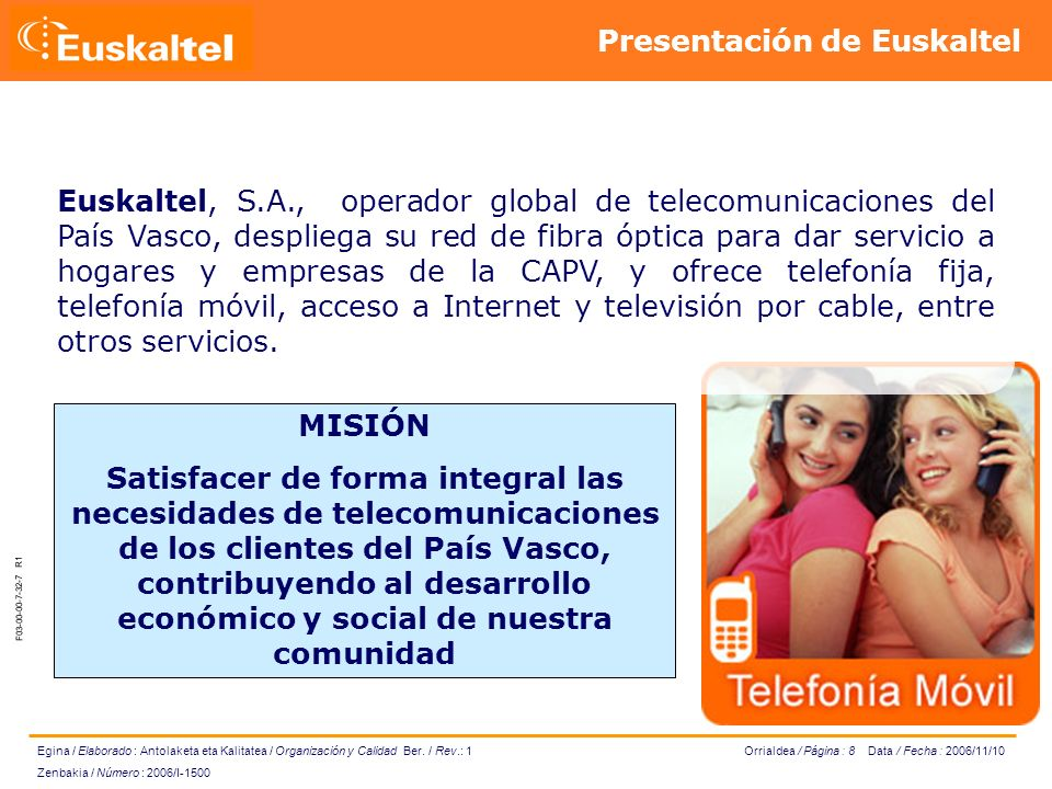 Orrialdea / Página : 8 Data / Fecha : 2006/11/10 Egina / Elaborado : Antolaketa eta Kalitatea / Organización y Calidad Ber.