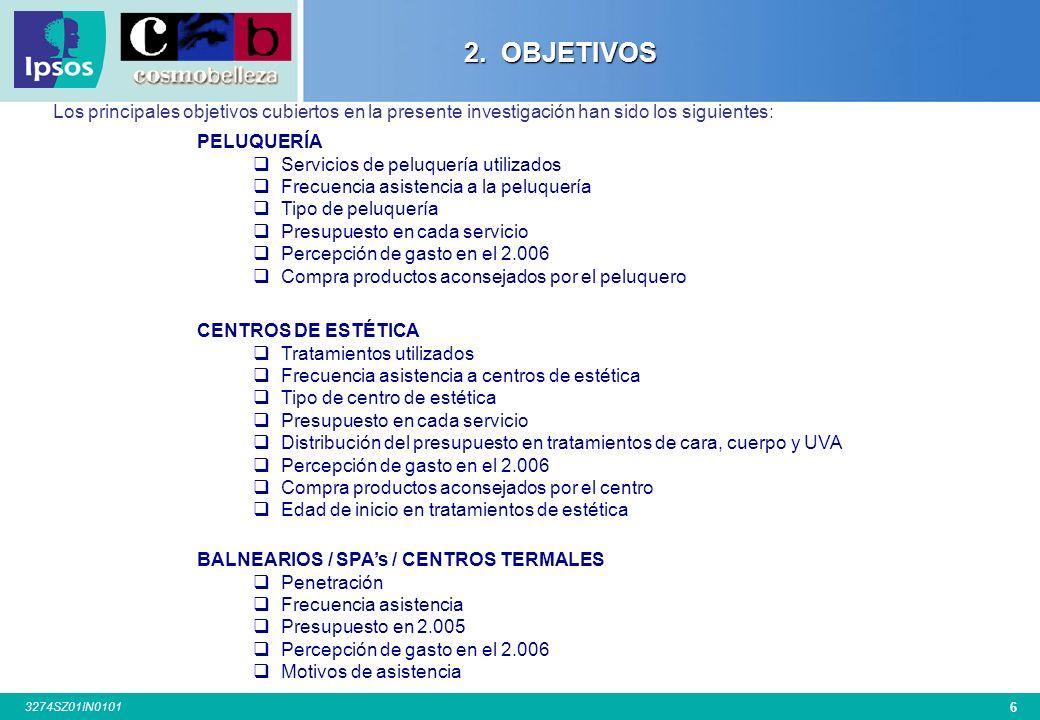 36 3274SZ01IN0101 Base: Han ido Centros de Estética: 2002:200 – 2003:304 – 2004:347 – 2005:300 – 2006: 306 P.8.¿Qué tratamientos son los que Ud suele utilizar en el centro de estética.