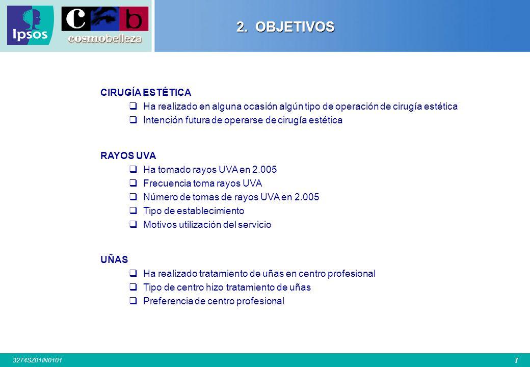 6 3274SZ01IN0101 2. OBJETIVOS Los principales objetivos cubiertos en la presente investigación han sido los siguientes: PELUQUERÍA Servicios de peluqu