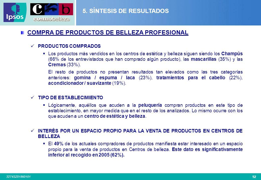 91 3274SZ01IN0101 TRATAMIENTOS DE BELLEZA (cont.) FRECUENCIA ACUDE AL CENTRO DE ESTÉTICA El 47% de los usuarios de centros de estética, acude al menos