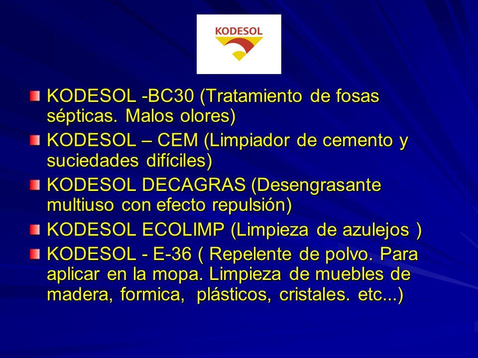 KODESOL - 82 (Acristalador. vitrificador suelos mármol y terrazo) KODESOL - 83(Cera metalizada suelos terrazo, mármol y plásticos). KODESOL - 400 (Cer