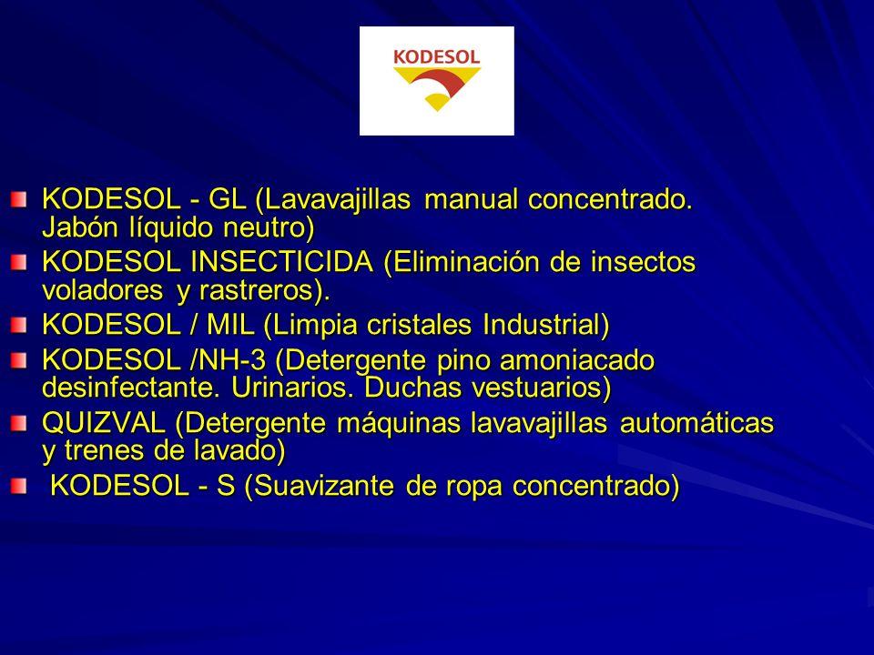 KODESOL -BC30 (Tratamiento de fosas sépticas. Malos olores) KODESOL – CEM (Limpiador de cemento y suciedades difíciles) KODESOL DECAGRAS (Desengrasant