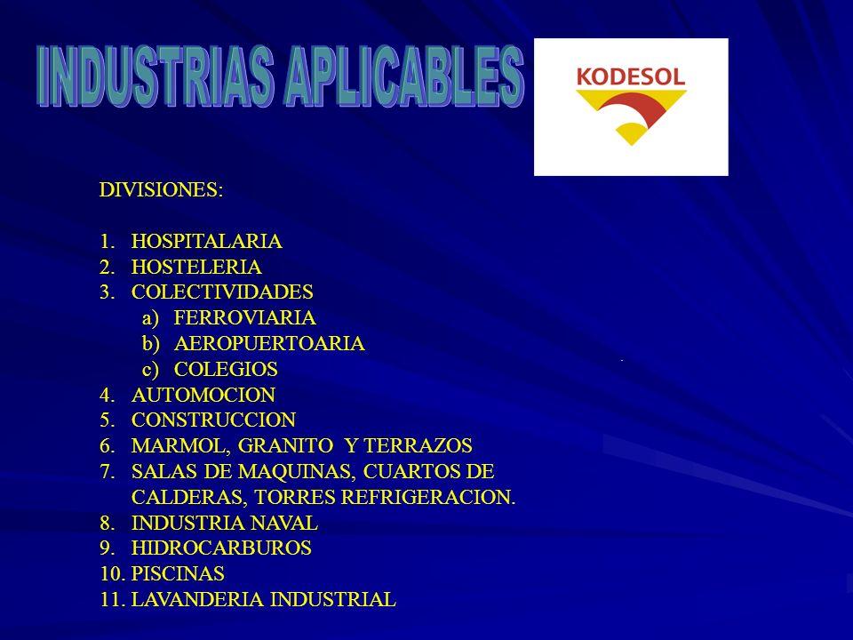 DIVISIONES: 1.HOSPITALARIA 2.HOSTELERIA 3.COLECTIVIDADES a)FERROVIARIA b)AEROPUERTOARIA c)COLEGIOS 4.AUTOMOCION 5.CONSTRUCCION 6.MARMOL, GRANITO Y TERRAZOS 7.SALAS DE MAQUINAS, CUARTOS DE CALDERAS, TORRES REFRIGERACION.