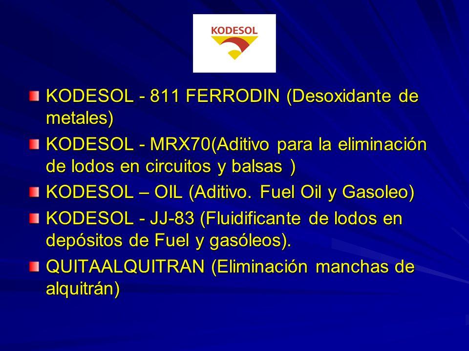 ECOLIMP (Desengrasante desoxidante de suelos) KODESOL - 80(Aditivo de agua en torres de refrigeración) KODESOL - 84(Tratamiento de agua de calderas) K