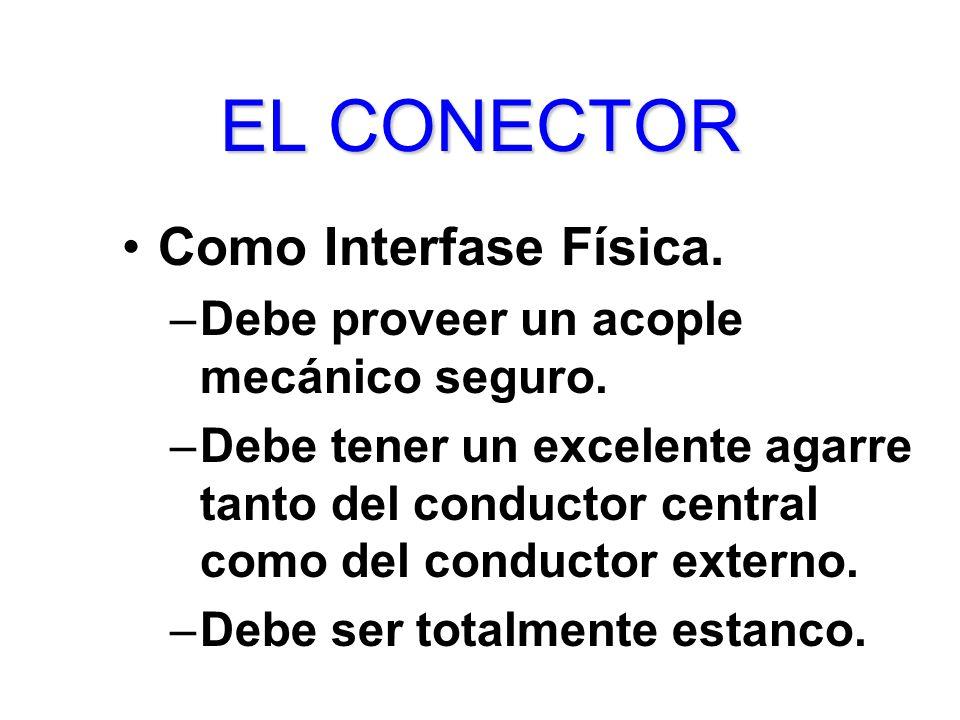 ELCONECTOR EL CONECTOR Como Interfase Física. –Debe proveer un acople mecánico seguro. –Debe tener un excelente agarre tanto del conductor central com