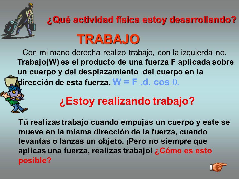 TRABAJO Trabajo(W) es el producto de una fuerza F aplicada sobre un cuerpo y del desplazamiento del cuerpo en la dirección de esta fuerza.