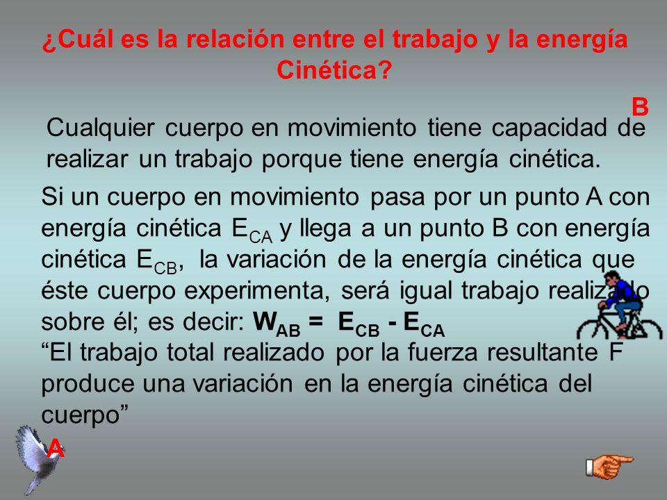 ¿Cuál es la relación entre el trabajo y la energía Cinética.