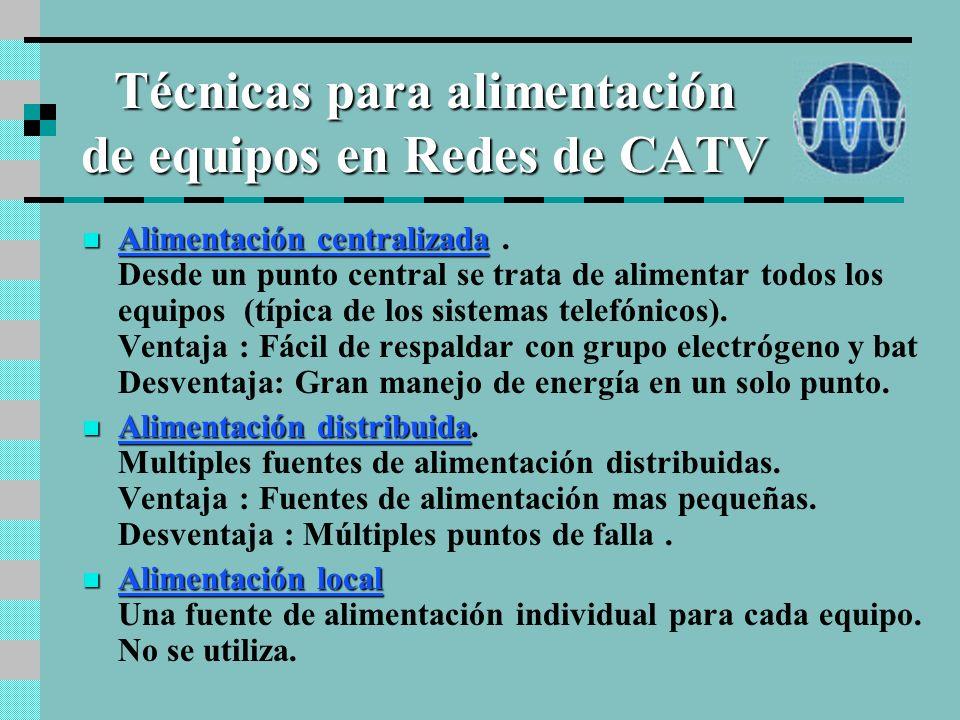 Técnicas para alimentación de equipos en Redes de CATV Alimentación centralizada Alimentación centralizada.