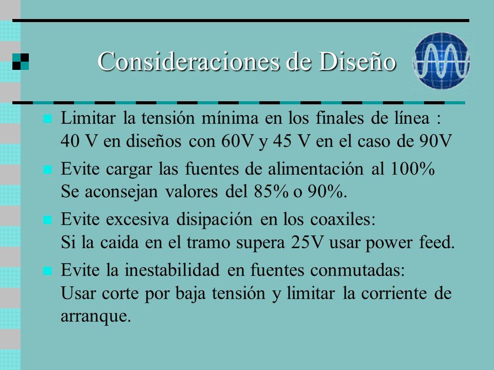 Alimentación Bases de Diseño SIN PLANES DE AMPLIACIÓN => Siga utilizando alimentación distribuida 60 V => En fuentes nuevas use equipos de 90V configu